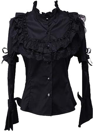 an*tai*na* Negra Algodón Encaje Volantes Stand-up Collar Gotica Lolita Camisa Blusa de Mujer: Amazon.es: Ropa y accesorios
