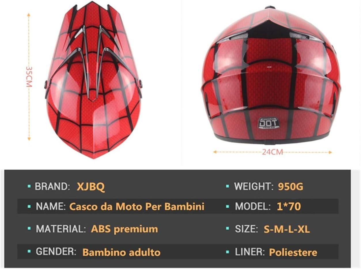 S,Noir brillant XJBQCasque Tout Terrain Enfant-casque Moto Enfant-VTT-Kart