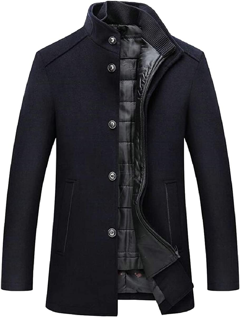 ONTBYB Mens Single Breasted Slim Mid Length Wool Blend Trench Pea Coat Jacket