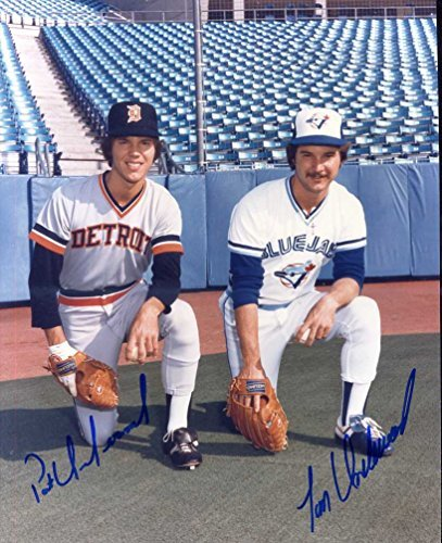 Tom & Pat Underwood (Brothers) Both Autographed /Original Signed 8x10 Color Photo Showing Pat in a Detroit Tigers Uniform and Tom (D.) w/ the Toronto Blue Jays in the 1970s