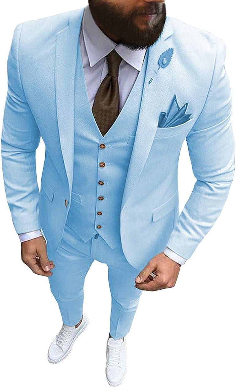 Herren 3-teilige formelle Kerbe Revers Herren Anzug Slim Fit Groomsmen Anzug Smoking f/ür die Hochzeit Blazer + Weste + Hose