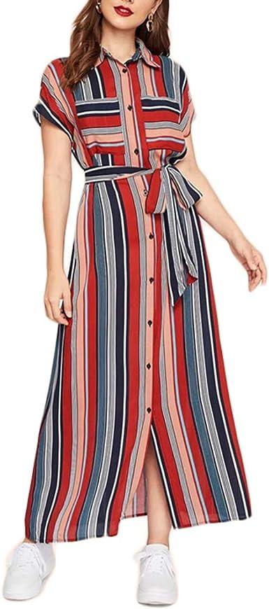 Vestido De Camisa con CinturóN A Rayas De Colores para Mujer ...