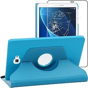 ebestStar - Funda Compatible con Samsung Galaxy Tab A6 A 10.1 (2018, 2016) T580 T585 Carcasa Cuero PU, Giratoria 360 Grados, Función Soporte, Azul +Cristal Templado [Aparato: 254.2x155.3x8.2mm 10.1