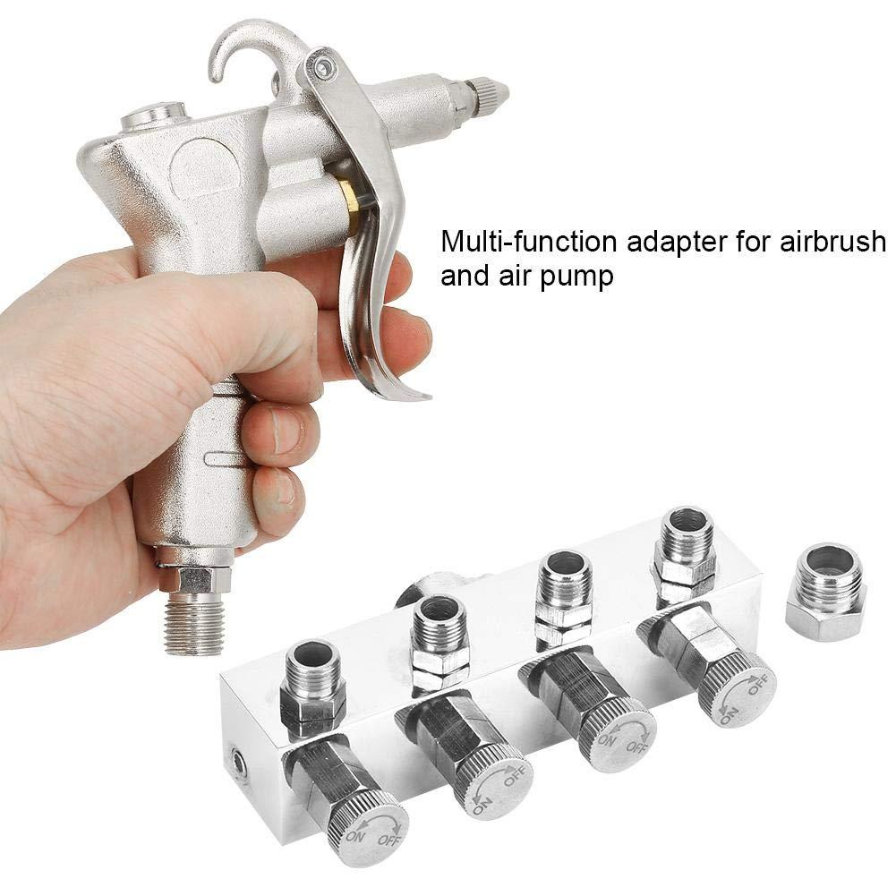 Hilitand Adaptateur dA/érographe Raccord dA/érographe en Aluminium Connecteur Multifonctions pour A/érographe Connexion de Pistolet Pulv/érisateur et de Pompe /à Air T1-4