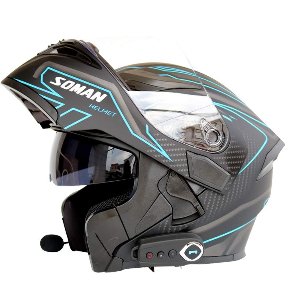 Motorcycle Bluetooth Helmet Detachable Modular Helmet D.O.T Safety Standard/Bluetooth Music/Answering Phone/Front Flip Anti-Fog Double Mirror with FM Helmet,M