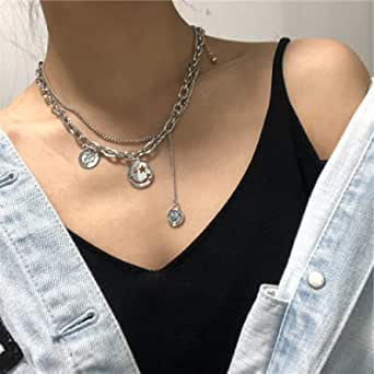 YERTTER 2 Tier Heavy Gothic Grunge Smile Pendant Necklace Statement Short Chain Punk Multilayer Steel Material Choker Necklace for Women