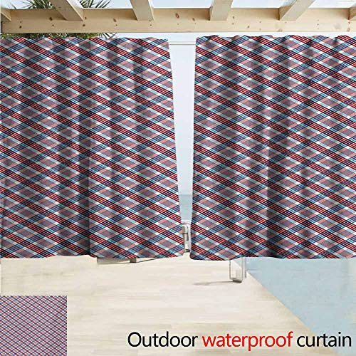 (DocGike Plaid Outdoor Door Curtain Checkered Pattern with Diagonal Stripes Antique Nostalgic Composition for Patio/Front Porch W72 xL72 Vermilion Navy Blue)