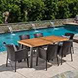 Great Deal Furniture | Delgado 7-Piece Outdoor Dining Set | Wood Table w/ Wicker Chairs | in Multibrown