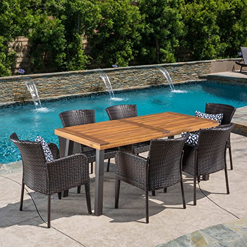 Christopher Knight Home Great Deal Furniture Delgado 7-Piece Outdoor Dining Set Wood Table w Wicker Chairs in Multibrown
