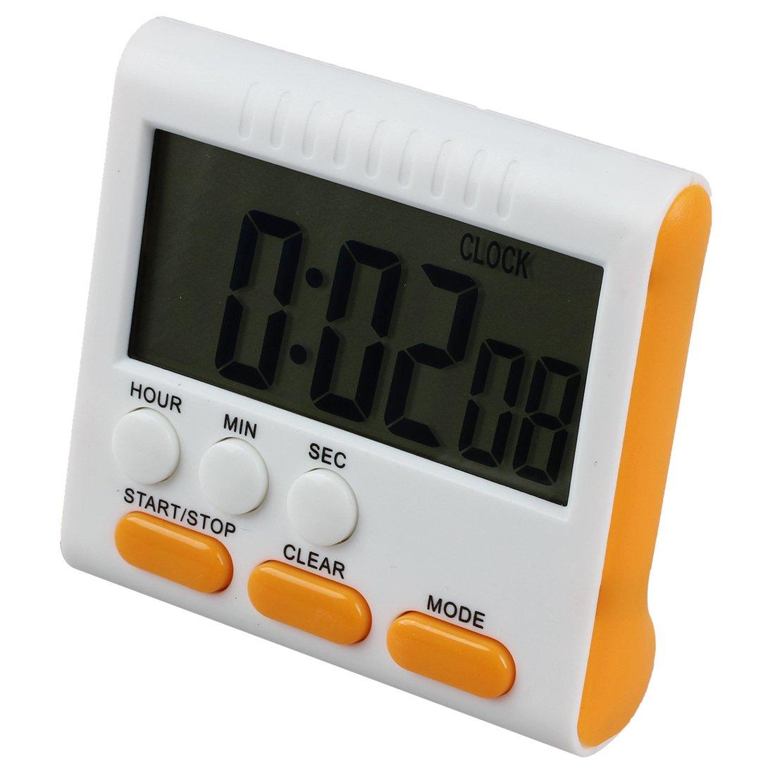 TOOGOO Minuterie d'oeuf numerique / Minuterie de cuisine avec une alarme sonore, fonction haut et bas, support magnetique, jaune et orange