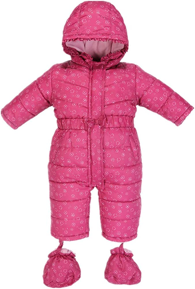 Beide Toddler Baby Girls Bowknot Snowsuits Winter Fleece Romper with Shoes
