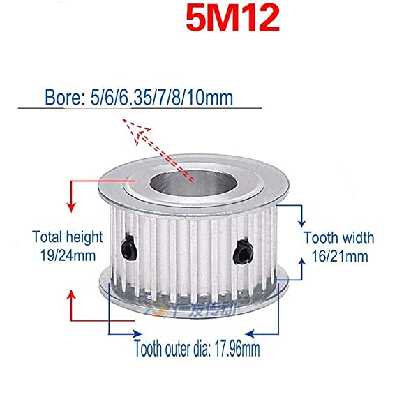 HTD 5M 16T 5mm-Pitch 21mm-Width Timing Belt Drive Pulley Choose Bore 16-Teeth