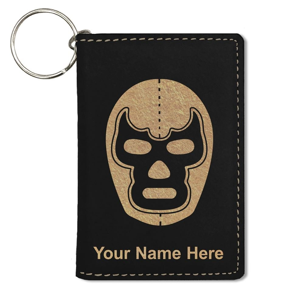 ID Holder Wallet, Luchador Mask, Personalized Engraving Included (Black)