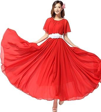 Medeshe Women s Red Chiffon Beach Wedding Long Maxi Dress (Length  115cm) eb040c0119