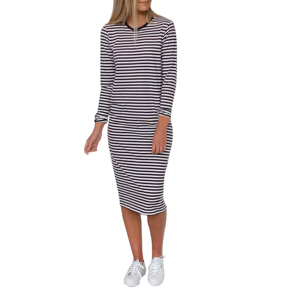 5806cd4d8b44 Amazon.com  BingYELH Women Maxi Dress Striped Dresses Casual Loose Kaftan  Round Neck Sundress Ladies Halter Dress  Clothing