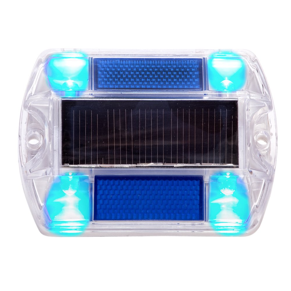 12 Pack Blue Polycarbonate Solar Powered Outdoor Road Stud Deck Dock Pool LED Light