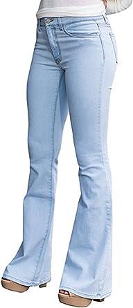 Amazon Com Ferbia Para Mujer Alta Cintura De La Campana Inferior Jeans Skinny Elastico Ancho De Pierna Flare Mezclilla Pantalones M Azul Claro Clothing