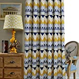 Anady Top Navy/Yellow/White Geometry Curtains Striped Geometric Curtains Drapes for Living Room Grommet Top 84 inch Long(NEW) For Sale