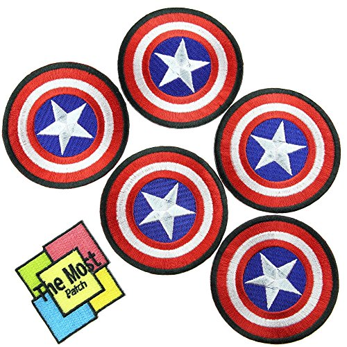 [Lot of 6 (5+1) Captain America The First Avenger Shield Marvel Superhero Cartoon Logo Kid Baby Boy Jacket T shirt Embroidered Iron/Sew On] (Cute Kid Halloween Songs)