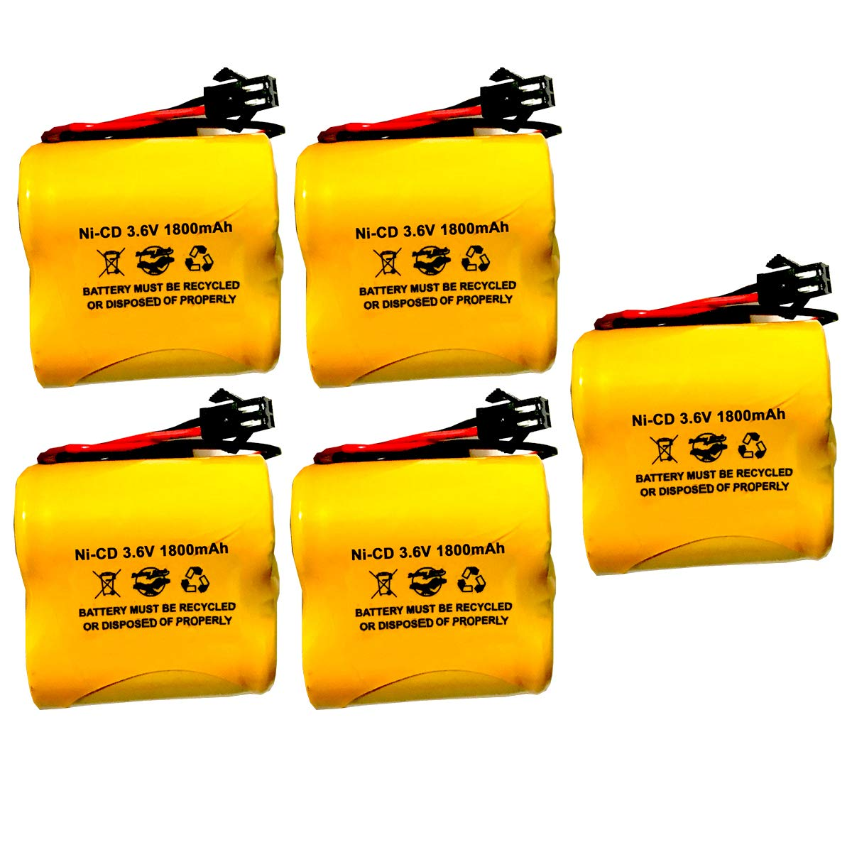 (5 Pack) OSA269 NIC1671 3.6v 1800mah Ni-CD Battery Pack for exit Sign Emergency Light Lithonia Unitech SC1800mAh 3.6V ELB-B002 ELBB002 745975931774 LITELBB002 by Battery Hawk, LLC