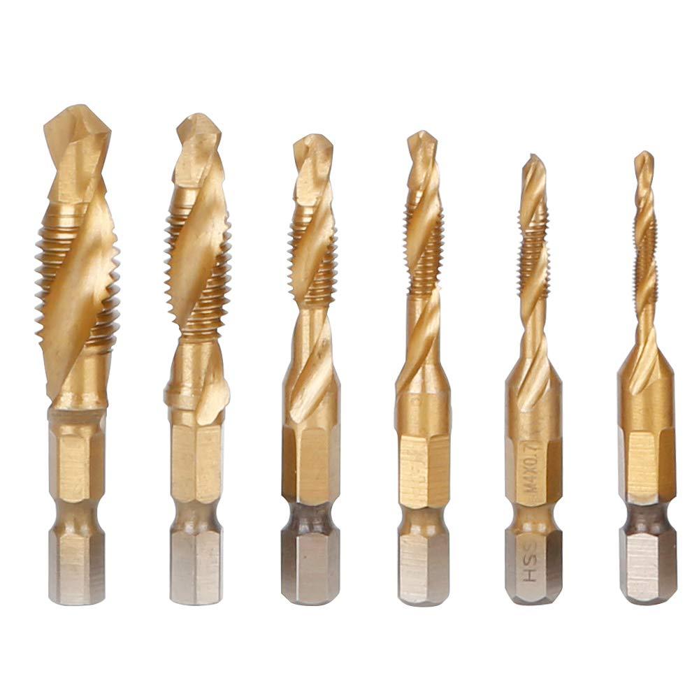 Drill Bit 6pcs//set Hex Shank HSS Screw Spiral Point Thread Metric Composite Plug Drill Bits Hand Tools Tap Drill
