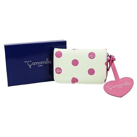 Camomilla Milano Luxury Billetera con botòn metàlico Cartera por Mujer Rosa Blanco
