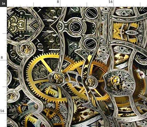 Spoonflower Clock Gear Fabric - Industrial Clock Gear Bionic Gears Cogs Steampunk Clockworks Clock Watch Timepiece Time by Whimzwhirled Printed on Petal Signature Cotton Fabric by The Yard