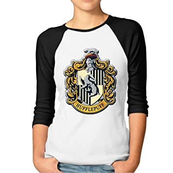 40e156765172b Female Harry Potter Hufflepuff 3 4 Sleeve Baseball Tshirt Raglan Jersey  Shirt