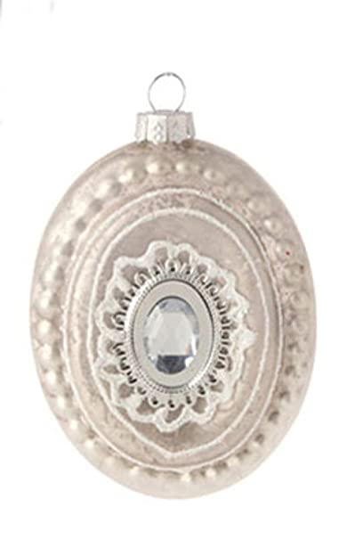 Christmas Tablescape Decor - Pastel Dreams Victorian Antique White Glass Silver Plate Medallion Rhinestone Christmas Ornament