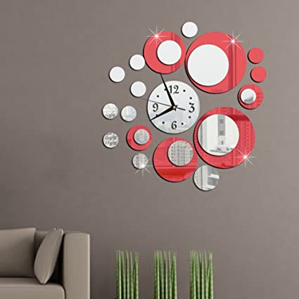 Amazon Com Adarl Diy 3d Mirror Wall Clock Stickers Modern Removable