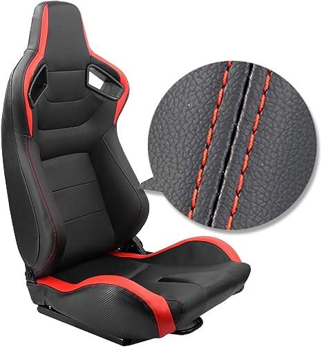 Kairay 2 Stück Set Sports Style Rennsitze Pvc Leder Verstellbarer Schalensitz Sportsitz Autositz Rot Schwarz Auto