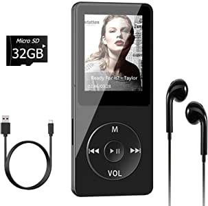 Aigital MP4 Player with 32GB TF Card and Supports Up to 128GB Memory Card, Economic Multifunctional Mini MP4/MP3 Music Player Adapter, with Video/Photo Viewer/E-Book, FM Radio and Record Function