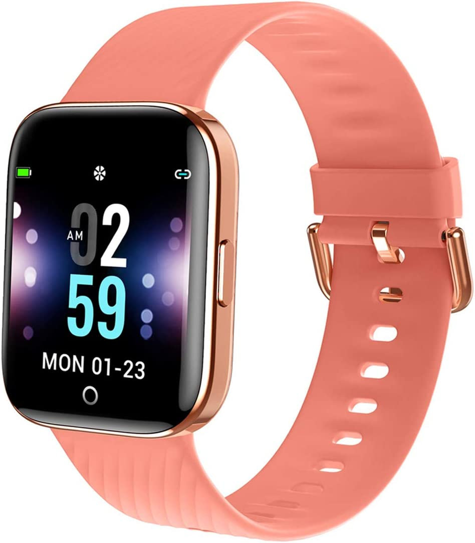 MBHB Youth Smart Watch, Indoor Sport Fitness Tracker, Dynamic Heart Rate Sleep Monitor Wristband for Men Women, Pink