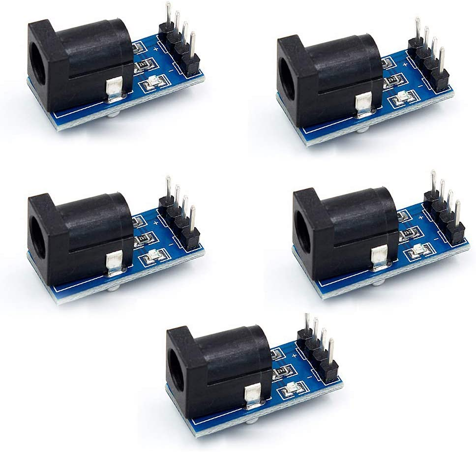MCHEN 5PCS Power Block Connector 5.52.1mm DC Socket 2.1DC Power Socket Module with 19p Dupont Cable