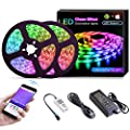 KORJO Dream Color LED Strip Lights, 32.8ft/10M LED Chasing Light with APP, Waterproof 12V 300 LEDs 5050 RGB Color Changing Rope Light Kit, Flexible Led Strip Lighting for Home Kitchen