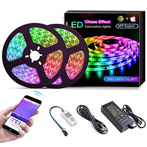 KORJO Dream Color LED Strip Lights, 32.8ft/10M Bluetooth LED Chasing Light with APP, Waterproof 12V 300 LEDs 5050 RGB Color Changing Rope Light Kit, Flexible Led Strip Lighting for Home ()