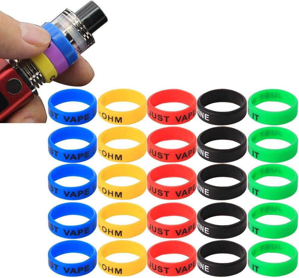 CESFONJER 25 piezas Vape Anillos Banda de Silicona Anti Slip Para RBA RDA tanque Mecánico Mods – Diámetro 22 mm (Rojo, azul, negro, verde, amarillo, respectivamente, 5 piezas)