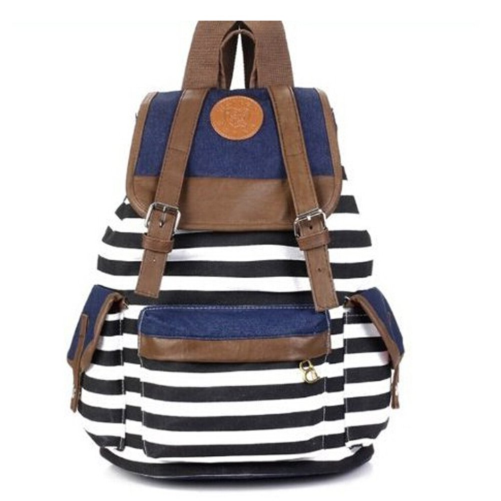 56f5839931 Amazon.com  JASSINS Fashionable Canvas Backpack College Laptop Bag Black  Stripe  Sports   Outdoors