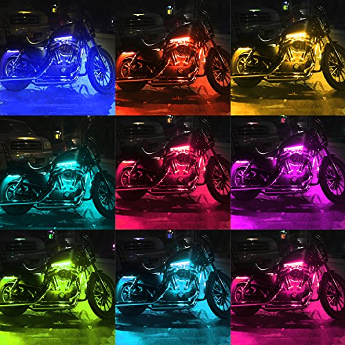 6pc Car Interior Neon Underglow Accent Light Kit: DITRIO 12Pcs Motorcycle LED Light Kit Strips Multi-Color