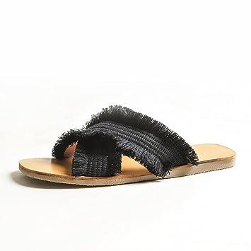 DYY Zapatillas Rojas netas, Zapatos Planos de Moda, Sandalias de Tejido Cruzado de Verano 2018,Negro,38: Amazon.es: Deportes y aire libre
