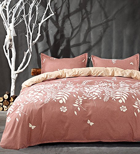 Pink Duvet Cover Set Queen - Floral Printed, 3 piece - 800-Thread-Count Luxury Hypoallergenic Microfiber Down Comforter Quilt Bedding Cover with Zipper, Ties - Coral Boho Style for Women (Womens Duvet)