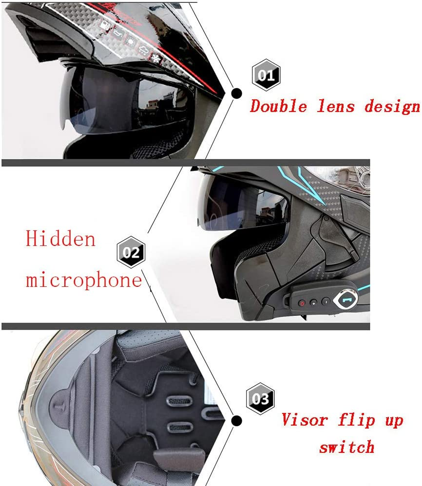 MTCTK Modular Bluetooth Integrierte Helm Motocross-Flip-up Vollvisierhelm mit Doppellinse Versteckt Mikrofon Motorradhelm