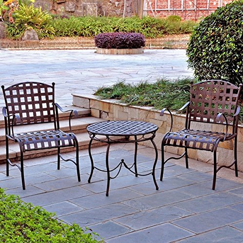 3-Piece Traditional 'Nailhead' Santa Fe Steel Iron Bistro Set Matte Brown - Santa Fe Bistro