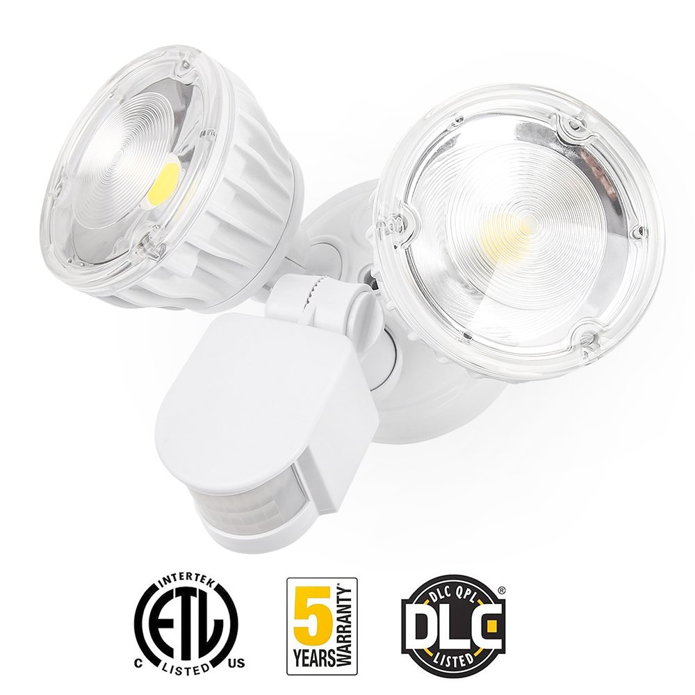 Amico Led Security Light 20w 160w Equivalent Dual Head Motion Pir Floodlight Wiring Instructions Sensor Outdoor Lights 2500lm 5000k Daylight Waterproof Ip65 Etl Dlc Listed Floodlights Adjustable Lighting 1 Pack