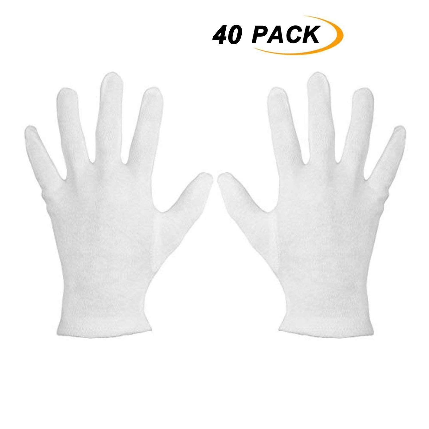 HUO ZAO White 100% Cotton Line Gloves, for Garden and Marching Band, Hotel Catering and Caterers, Motorcycle and Bicycle Repairing - Medium 40 Pack