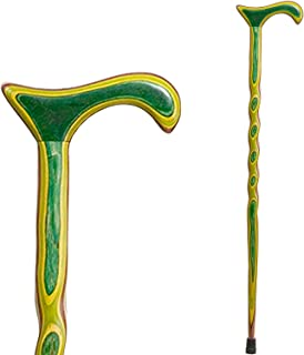"product image for Brazos 37"" Handcrafted Twisted Colorwood Wood Walking Cane for Men and Women, Green, Made in the USA"