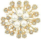 Gyn&Joy Flower Brooch White Simulated Pearl Crystal Elegant Bridal Corsage Brooch Pin