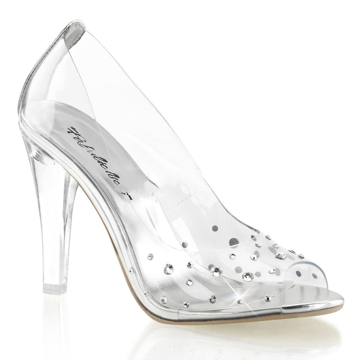 Fabulicious Clearly-420 sexy transparente High Heels Strass Peeptoe Pumps 35-43 Übergröße