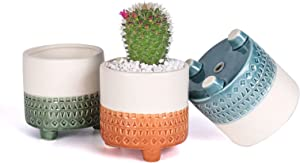 EFISPSS 4 Inch Succulent Pot with Drainage Hole- Half Glazed with Three Legs, Smooth Ceramic Flower Pot for Plant Cactus, Indoor Outdoor Decor for Garden and Home- 3 Pack