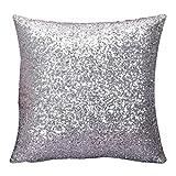 Fundas De Cojines,Xinantime Funda de almohada del brillo del color sólido (Plata)